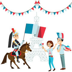 People with flags in hands welcome on parade of soldiers horses against backdrop eiffel tower in France, French national holiday - day capture bastille vector illustration
