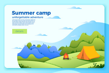 Vector bright camping banner template with bonfire near the tent, on bright summer background with mountains and forests. With place for your text.