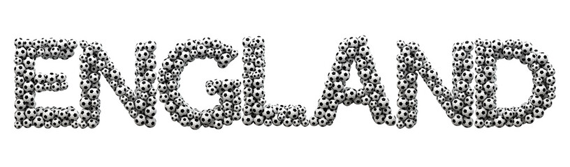 England word made from a football soccer ball texture. 3D Rendering