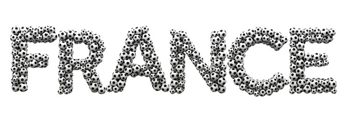 France word made from a football soccer ball texture. 3D Rendering