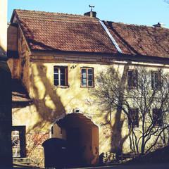 Beautiful courtyard of an old European city