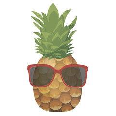 Cartoon pineapple in glasses. Colorful print of hipster pineapple. Picture of an exotic fruit. Fresh vitamins.