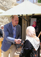 Britain's Prince William visits the Princess Taghrid Institute for Development and Training in the province of Ajloun