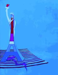 Dessin de la Tour Eiffel et de la Statue de La Liberté entremêlées symbolisant l'amitié France USA