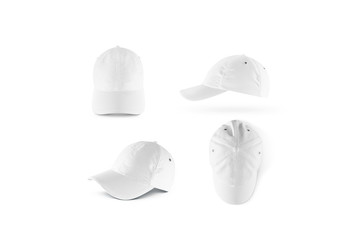 Blank white baseball cap mock ups set, isolated. Empty sports hat mockup. Clear snapback front, side and top view. Head wearing dress presenation