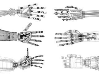 Robotic Arm - Hands Architect Blueprint - isolated