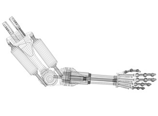 Robotic Arm Concept Architect Blueprint - isolated