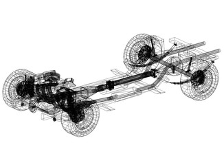 car chassis and engine Design – Blueprint - isolated