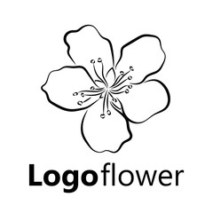 Blooming cherry. Sakura branch with flower buds. Black and white drawing of a blossoming tree in spring. Logo with Japanese cherry blossoms. Tattoo. Linear Art.