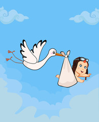 cartoon vector illustration with stork carrying cute baby boy