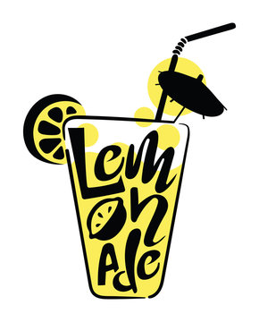 Logo of lemonade in a glass with words. Stylized inscription of lemonade in the form of a glass with a tube. Yellow Logo with lettering.