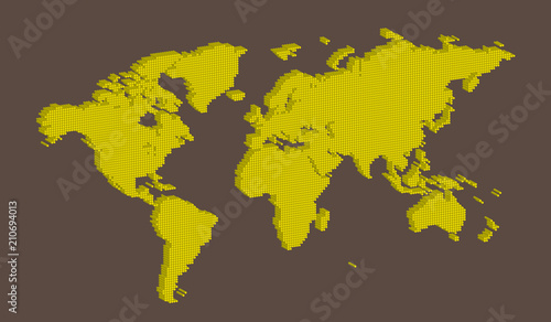Isometric world map vector with yellow on light brown colored round isometric world map vector with yellow on light brown colored round dotted shape gumiabroncs Choice Image