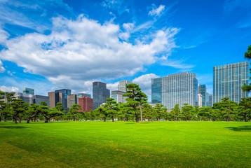 Modern building with green Zen garden on blue sky background in Tokyo, Japan.