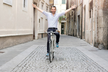 City urban traffic solution , man riding his bike without stress