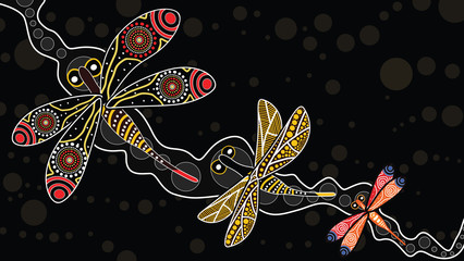 Aboriginal art vector painting with dragonfly. Illustration based on aboriginal style of landscape background.
