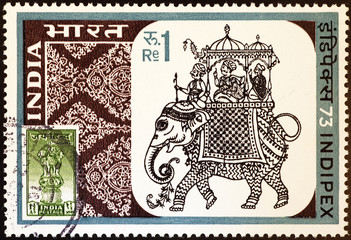 Drawing of elephant carrying Maharaja on indian postage stamp