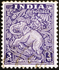 Indian postage stamp showing an elephant carved in Ajanta caves