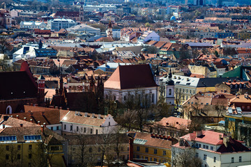 Beautiful view from the observation deck of spring Vilnius old t