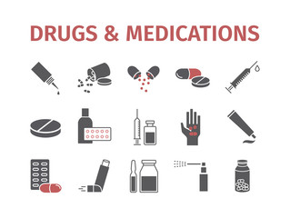 Medicine drugs pills. Medical supplies banner. Vector sign