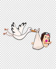 stork bringing baby girl on transparent background.