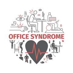 Office syndrome banner infographic. Vector signs