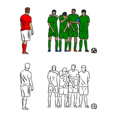 male soccer player shooting a free kick with opposite players on the wall vector illustration sketch doodle hand drawn with black lines isolated on white background