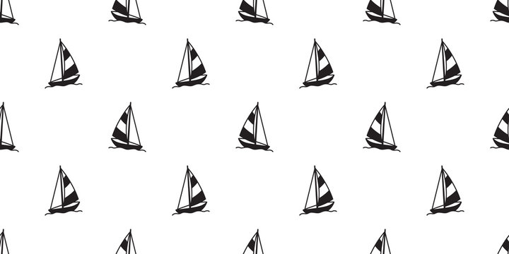 boat seamless pattern vector yacht sailboat anchor helm lighthouse Nautical maritime tropical isolated wallpaper background