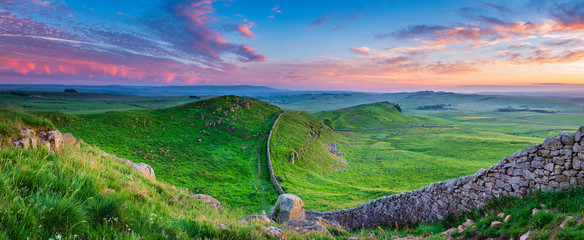 Twilight Panorama at Hadrian's Wall / Hadrian's Wall is a World Heritage Site in the beautiful Northumberland National Park. Popular with walkers along the Hadrian's Wall Path and Pennine Way