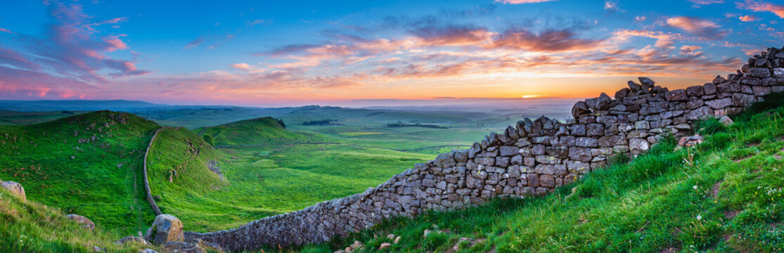 Hadrian's Wall Panorama at Sunset / Hadrian's Wall is a World Heritage Site in the beautiful Northumberland National Park. Popular with walkers along the Hadrian's Wall Path and Pennine Way