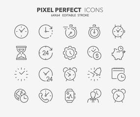 time clocks thin line icons