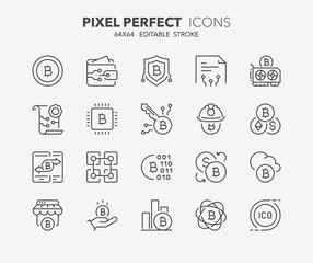 crypto currency thin line icons