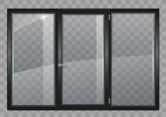 Black window with transparent glass