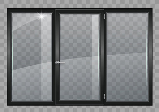 Black window with transparent glass