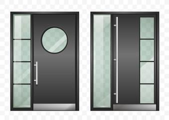 Set of modern entrance doors