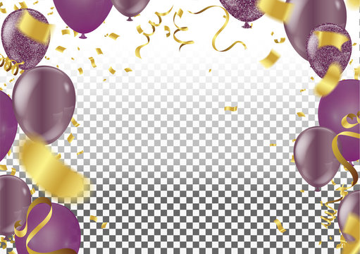Set. Air Balls. Gold and purple Balloons. Festive background. Ribbons.Sequins. Confetti. Card. Decoration. Design  Festive background
