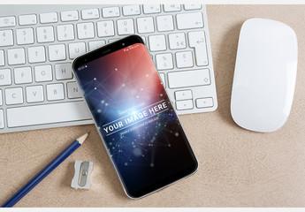 Smartphone on Desk Mockup