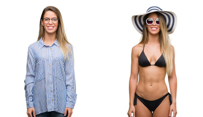 Young beautiful blonde woman wearing business and bikini outfits with a happy and cool smile on face. Lucky person.