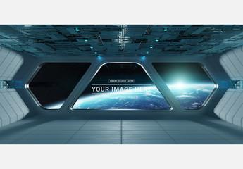 Futuristic Spaceship Interior Mockup