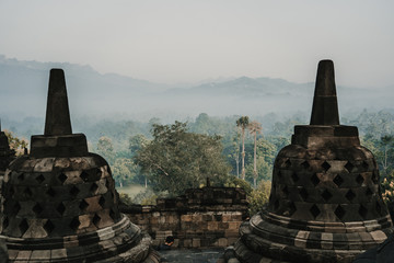 Photograph of the great Borobudur temple, historical famous place in the java island Indonesia. Lifestyle and travel photography.