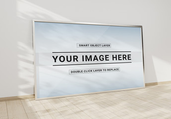 Large White Frame Leaning on Wall Mockup