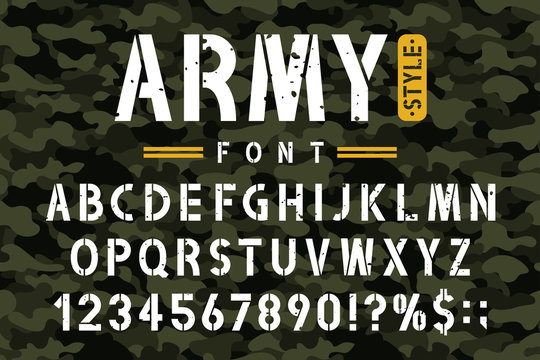 Military stencil font on camouflage background. Rough and grungy stencil alphabet with numbers in retro army style