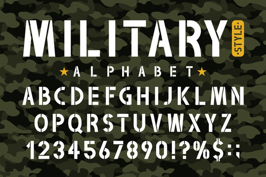 Military stencil font on camouflage background. Stencil alphabet with numbers in retro army style