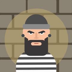 Male thief cartoon style. Cartoon thief on the spotlight. Vector stock.