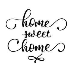Sweet home black ink hand lettering, vintage calligraphy, handwritten typography on white background. Vector  illustration.
