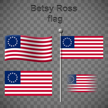 Set of Betsy Ross flags isolated on chequered background.