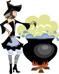 witches preparing a potion, vector illustration of  witch in profile is cooking something poisonous in her cauldron, at Halloween night