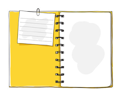yellow notebook and note paper  hand drawn vector art illustration