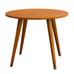 The round table in the style of the sixties, on white background