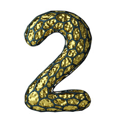 Number 2 two made of Golden shining metallic 3D with black cage isolated on white