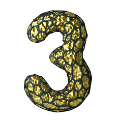 Number 3 three made of Golden shining metallic 3D with black cage isolated on white